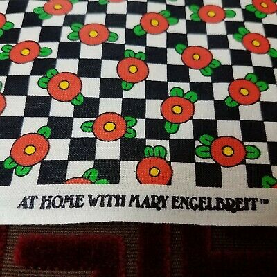 Vintage Mary Engelbreit Cotton Fabric V.I.P. Cranston Print Works By the Yard