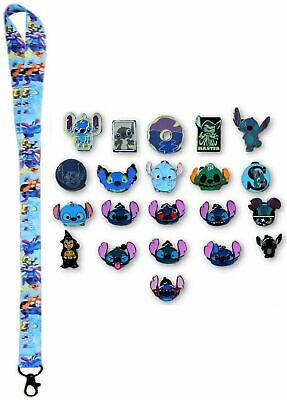 5 Lilo & Stitch Themed Disney Trading Pins Starter Set with Stitch Lanyard - NEW