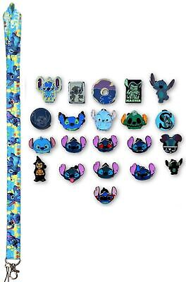 5 Lilo & Stitch Themed Disney Trading Pins Starter Set w/ Stitch Lanyard - NEW