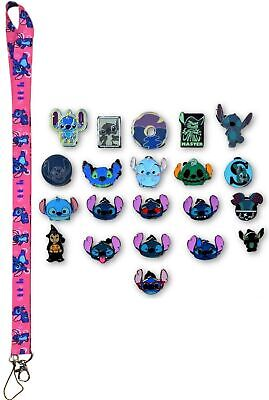 Stitch Lanyard Starter Set w/ 5 Lilo & Stitch Themed Disney Trading Pins ~ NEW