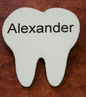 Engraved Tooth Shape Dentist Name Badge Pin Fastener (New Colours)