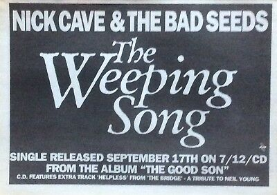 Nick Cave & The Bad Seeds - Rare Original Poster Advert - The Weeping Song 1990