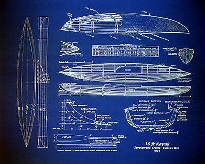 "Kayak Plan Wood and Canvas Boat 1934 Blueprint Drawing 20""x24"" (007)"