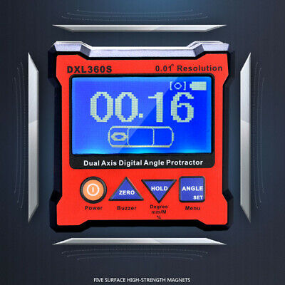 DXL360S Dual Axis LCD Digital Protractor Inclinometer Angle Gauge EU Plug S5V6
