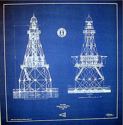 "Lighthouse in Florida at Fowey Rocks 1875 Blueprint Plans 18"" x 17"" (247)"