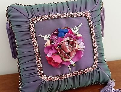 HANDMADE Shabby Chic PURPLE Satin FLORAL Topped Tassel Small Decorator CUSHION