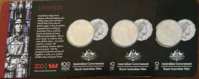 🌟 2018 Anzac Coin Collection:  3 coins   x   UNITED   50 CENTS (Herald Sun) 🌟