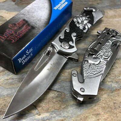 Dark Side Blades Gray Skull Spring Assisted Survival Camping Rescue Pocket Knife