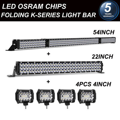 """TRI-ROW 54INCH LED LIGHT BAR COMBO OFFROAD 4WD TRUCK ATV CAR BOAT + 22"""" + 4""""Pods"""