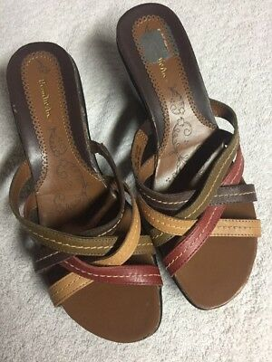 e6b0e2b59103 Thom McAn Women s Brown Green Red Leather Slip On Wedge Sandals Shoes Size  8 W
