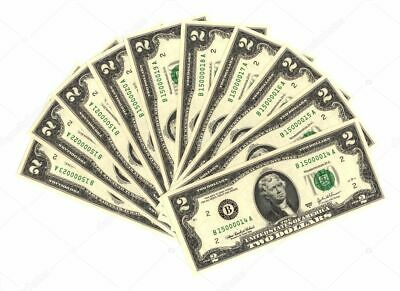 Ten (10) - Lucky $2 Two Dollar Bill - Consecutive Numbers - Crisp & New!