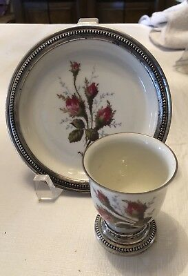 Rosenthal Pompadour Moss Rose  w Sterling Wine Coaster & Toothpick Holder