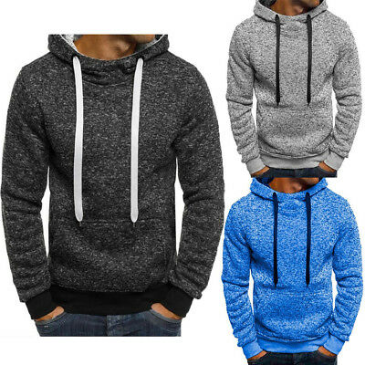 AU Men's Hoodie Gym Winter Warm Cotton Long Sleeve Top Men Hooded Shirt Jumper