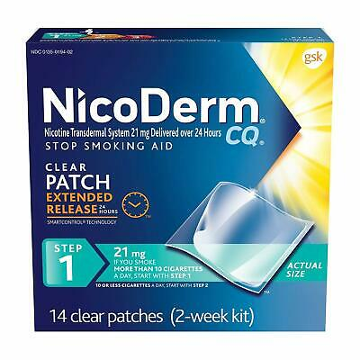 NicoDerm CQ Nicotine Patch, Clear, Step 1 to Quit Smoking, 21mg,14 Count EXP1/20