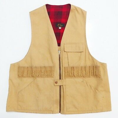 LL BEAN Duck Canvas Hunting Vest Vintage USA Made Curve Logo 1950s 60s Shooting