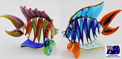 Handcrafted Glass Bright Fish set of 2