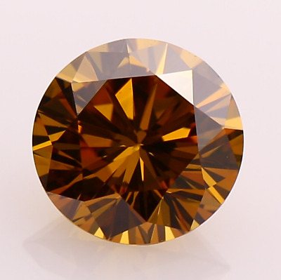 1.00 Ct Cognac Brown Round VVS1 Excellent Real Moissanite Diamond Cut For Ring.