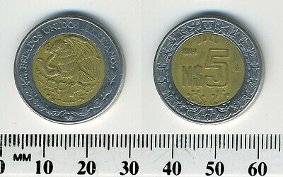 Mexico 1994 - 5 Nuevo Pesos Bi-Metallic Coin - National arms