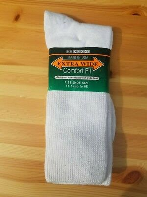 EXTRA WIDE COMFORT FIT SOCKS 11-16 WHITE Big and Tall Extra Wide Crew Sock
