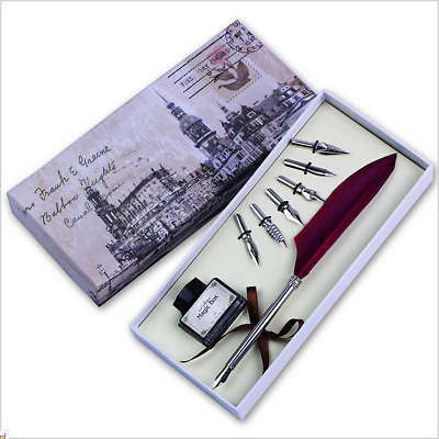 Personalised Goose Feather Quill Pen + 6 Metal Nibs Dip Black Ink Set Gift Box
