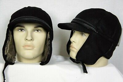 - Leather// Sheepskin by Northern Hats SKU: 13D-BLK Black NEW Elmer Fudd Hat