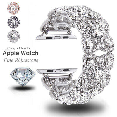 38 42 40 44MM For Apple Watch Series 4 3  Lady's Bling Diamond iWatch Watch Band