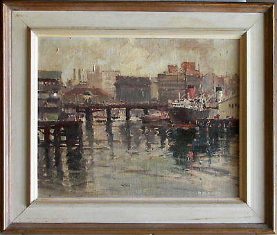 Frank Spears (1904-87) Original Oil Painting Steamship Darling Harbour Sydney