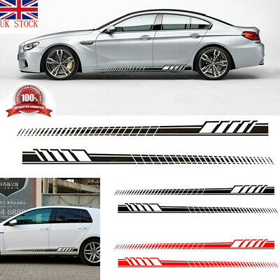 2pcs Car Side Body Vinyl Decal Sticker Racing Sports Long Stripe Decals Graphics