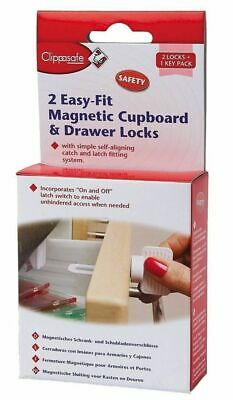 2x MAGNETIC DRAWER KITCHEN CABINET CUPBOARD LOCK & KEY CHILD BABY TODDLER SAFETY