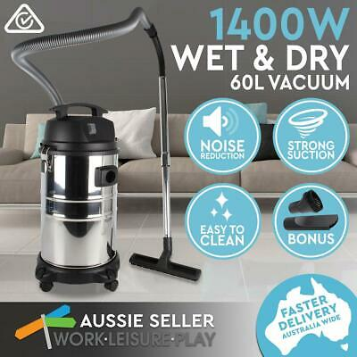 60L Wet & Dry Vacuum Cleaner Bagless Industrial Grade 1400W w/ Attachment