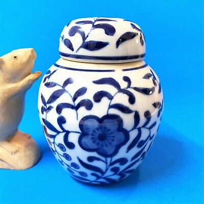 Blue on White Chinese Hand Painted Stoneware Ginger Jar & Lid - 14cm Tall
