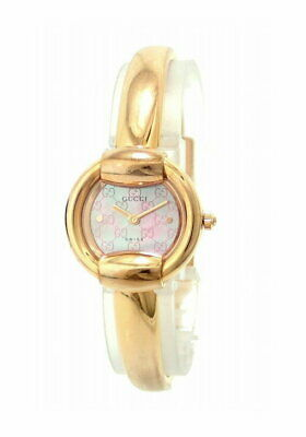 bab1a1fac46 GUCCI QUARTZ PINK Gold Women s Fashion Watch Pink shell dial Auth ...