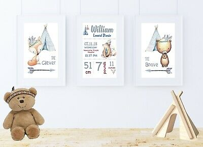 Baby Boy Nursery Wall Art Prints Tribal Boho Woodland Animals Set Of 3