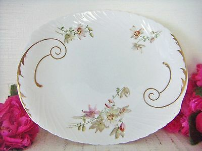 Antique Cake Plate Doulton Burslem Wild Flowers White C1891-1902 Royal Doulton