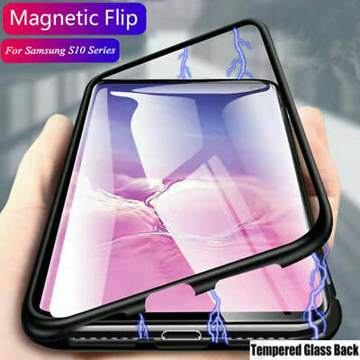 For Samsung Galaxy S10 Plus/S10e Magnetic Adsorption Tempered Glass Cover Case