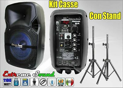 2 Casse Amplificate 1100 Watt Bluetooth Radio Fm + 2 Stand Compact Extreme Sound