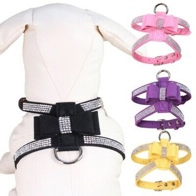 US Dog Harness Strap Lead Bling Rhinestone Dog Necklace Leather Bow-knot Collar