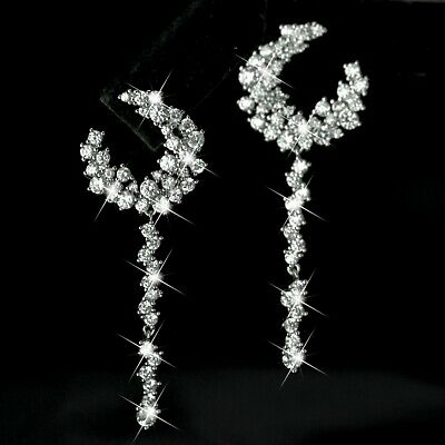 18k white gold gf made with Swarovski crystal stud 925 silver dangle earrings