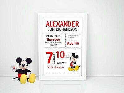 Baby Micky Mouse Personalised Baby Nursery Decor Wall Art Print, Birth Announcem