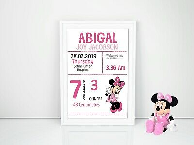 Minnie Mouse Personalised Baby Nursery Decor Wall Art Print, Birth Announcement