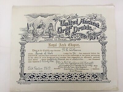United Ancient Order of Druids Certification dated 1926