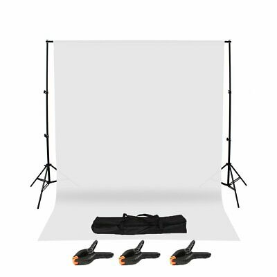 Photography Studio Background Support Stand & White Screen Backdrop Kit & Bag FU