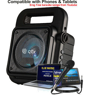 QTX Bluetooth Karaoke Machine with  Media Player AUX and Microphone