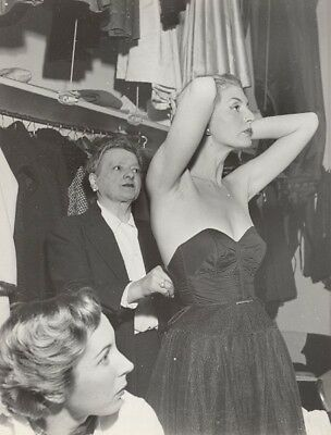 Before Defile Women Model Fashion France old Photo 1960 Coulisses Haute-Couture