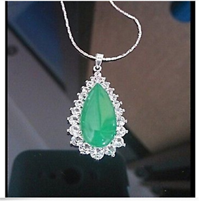 100% Natural Hand-carved Chinese green Jade pendant Insert Silver carving-AAA