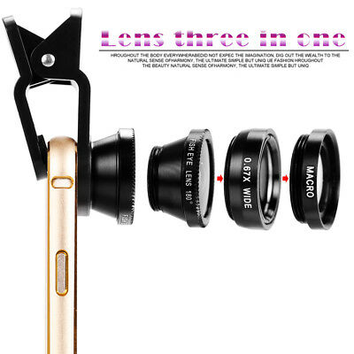Wide Angle 180° Fish Eye Macro Clip Camera Lens Kit for Smart Mobile Phone