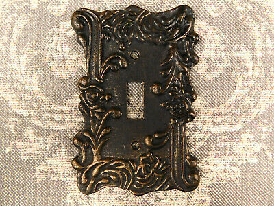 Metal Single Toggle Light Switch Cover. Ornate scroll decorative wall plate, NEW