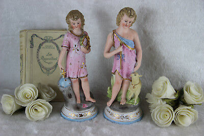 PAIR french antique porcelain child jesus john baptist religious figurines sheep