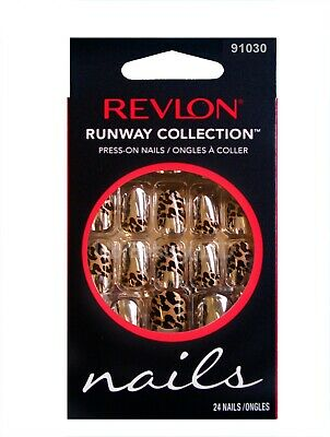 Revlon Runway False Nail Tip Silver Chrome With Leopard Press On Nails 91030