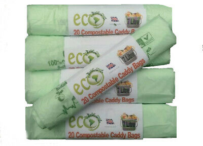 200 Compostable Kitchen Food Waste Bags Caddy Liners Biodegradable 7 Litre